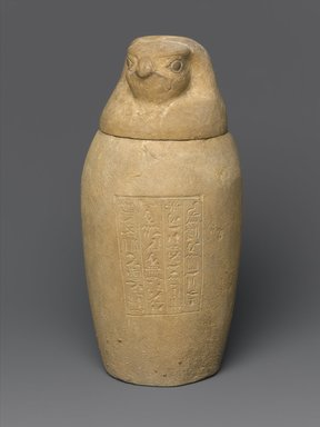 Canopic Jar and Lid (Depicting a Hawk), 664-525 B.C.E. or later. Limestone, 10 1/4 (26 cm) height x 4 1/2 in. (11.4 cm) diameter. Brooklyn Museum, Charles Edwin Wilbour Fund, 37.895Ea-b. Creative Commons-BY
