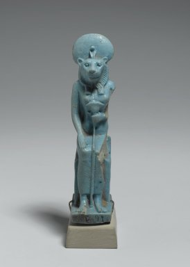 Figure of Sekhmet Seated, 305-30 B.C.E. Faience, glazed, 3 7/8 x 1 x 1 9/16 in. (9.9 x 2.5 x 4 cm). Brooklyn Museum, Charles Edwin Wilbour Fund, 37.944E. Creative Commons-BY