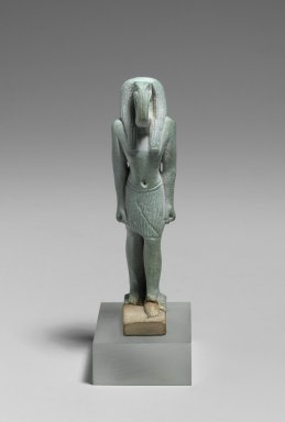 Figure of the God Thoth, 664-332 B.C.E. Faience, glazed, 2 7/8 x 3/4 x 1 3/16 in. (7.3 x 1.9 x 3 cm). Brooklyn Museum, Charles Edwin Wilbour Fund, 37.946E. Creative Commons-BY
