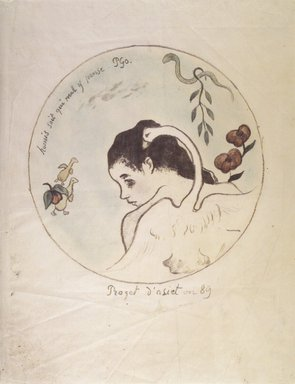 Paul Gauguin (French, 1848-1903). Leda (Design for a China Plate) (Leda [Projet d'assiette]), 1889. Hand-colored zincograph on China paper, Image (Diameter): 8 in. (20.3 cm). Brooklyn Museum, Museum Collection Fund, 38.116