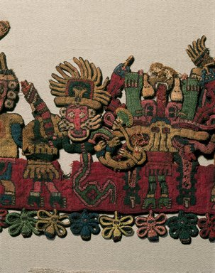 "Nasca. Mantle (""The Paracas Textile""), 100-300 C.E. Cotton, camelid fiber, textile: 58 1/4 x 24 1/2 in. (148 x 62.2 cm). Brooklyn Museum, John Thomas Underwood Memorial Fund, 38.121"