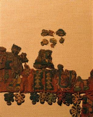 "Nasca. Mantle (""The Paracas Textile""), 100-300 C.E. Cotton, camelid fiber, textile: 58 1/4 x 24 1/2 in. (148 x 62.2 cm). Brooklyn Museum, John Thomas Underwood Memorial Fund, 38.121"