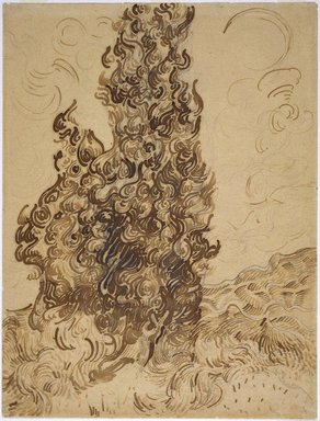 Vincent van Gogh (Dutch, 1853-1890). Cypresses (Les Cyprès), June 1889. Reed pen, graphite, quill, and brown and black ink on wove Latune et Cie Balcons paper, 24 3/8 x 18 5/8 in. (61.9 x 47.3 cm). Brooklyn Museum, Frank L. Babbott Fund and A. Augustus Healy Fund, 38.123