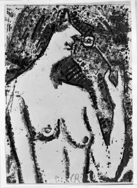 Christian Rohlfs (German, 1849-1939). Half-Length Nude with Flower (Halbakt mit Blüte), 1910. Color woodcut in shades of brown and black on wove paper, Image: 4 3/8 x 3 1/4 in. (11.1 x 8.3 cm). Brooklyn Museum, By exchange, 38.129