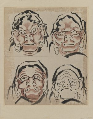 Katsushika Hokusai (Japanese, 1760-1849). Sketch of Four Faces, 1760-1849. Ink on paper, 10 5/8 x 9 1/8 in. (27 x 23.2 cm). Brooklyn Museum, Designated Purchase Fund, 38.154