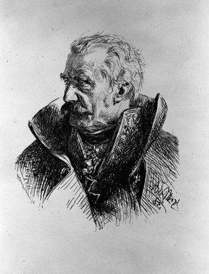 Adolf Friedrich Erdmann von Menzel (German, 1815-1905). Portrait of  Blücher, 1882. Wood engraving on China paper, Image: 6 7/8 x 5 11/16 in. (17.4 x 14.5 cm). Brooklyn Museum, By exchange, 38.173