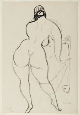 Gaston Lachaise (American, born France, 1882-1935). Back of a Nude Woman, 1929. Black ink on cream, medium-weight, slightly textured wove paper, Sheet: 17 7/8 x 12 in. (45.4 x 30.5 cm). Brooklyn Museum, Gift of Carl Zigrosser, 38.183. © Estate of Gaston Lachaise