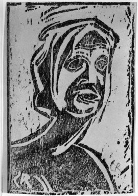 Christian Rohlfs (German, 1849-1939). Small Head of Girl (Kleiner Mädchenkopf), ca. 1912. Woodcut on glossy wove paper, Image: 5 13/16 x 3 7/8 in. (14.8 x 9.8 cm). Brooklyn Museum, By exchange, 38.198