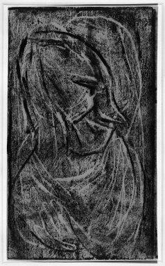 Christian Rohlfs (German, 1849-1939). Head II (Kopf II), n.d. Color woodcut in dark blue on wove paper, Image: 7 x 5 15/16 in. (17.8 x 15.1 cm). Brooklyn Museum, By exchange, 38.199. © Estate of Christian Rohlfs