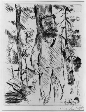 Lovis Corinth (German, 1858-1925). The Farmhand (Der Knecht), 1919. Etching and drypoint on laid paper, Image (Plate): 12 1/2 x 9 3/4 in. (31.8 x 24.8 cm). Brooklyn Museum, By exchange, 38.200
