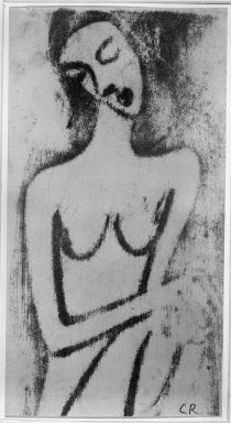 Christian Rohlfs (German, 1849-1939). Crouching Female Nude (Hockender weiblicher Akt), ca. 1913. Color woodcut in bistre, rubbed with pumice stone, on heavy wove paper, Image: 12 9/16 x 6 3/4 in. (31.9 x 17.1 cm). Brooklyn Museum, By exchange, 38.211