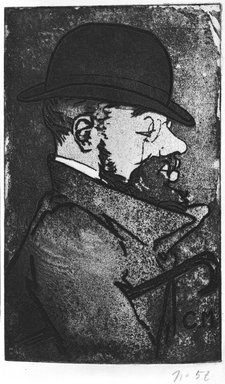 Charles Maurin (French, 1856-1914). Portrait of Toulouse-Lautrec, 1893. Aquatint on wove paper, 9 x 8 7/8 in. (22.8 x 22.6 cm). Brooklyn Museum, Charles Stewart Smith Memorial Fund, 38.338