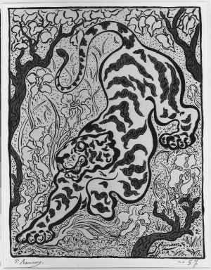 Paul Ranson (French, 1864-1909). Tigre dans les jungles (A tiger in the jungle), 1893. Lithograph on wove paper, 14 9/16 x 15 1/16 in. (37 x 38.2 cm). Brooklyn Museum, Charles Stewart Smith Memorial Fund, 38.339