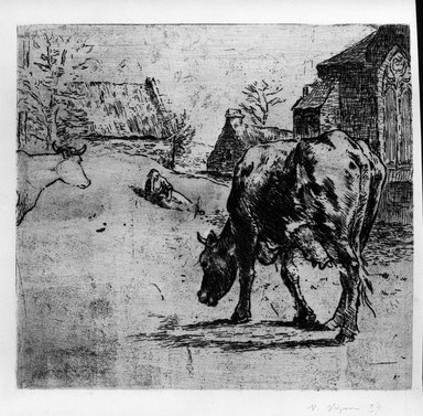 Victor Paul Vignon (French, 1847-1909). La Vache (A country scene - a cow in the foreground), 1893. Etching some drypoint and roulette on laid paper, 9 13/16 x 10 5/8 in. (25 x 27 cm). Brooklyn Museum, Charles Stewart Smith Memorial Fund, 38.362
