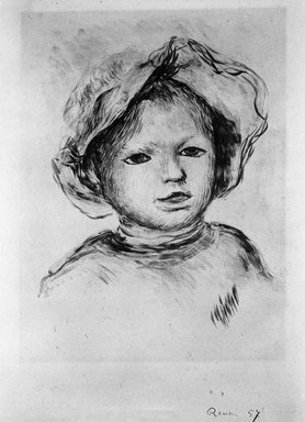 Pierre-Auguste Renoir (French, 1841-1919). Child's Head (Tête d'enfant), ca. 1893. Lithograph on China paper, 11 1/8 x 9 1/8 in. (28.2 x 23.2 cm). Brooklyn Museum, Charles Stewart Smith Memorial Fund, 38.370