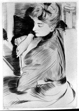 Paul-César Helleu (French, 1859-1927). Meditation, 1894. Drypoint on laid paper, 11 x 7 13/16 in. (27.9 x 19.8 cm). Brooklyn Museum, Charles Stewart Smith Memorial Fund, 38.379