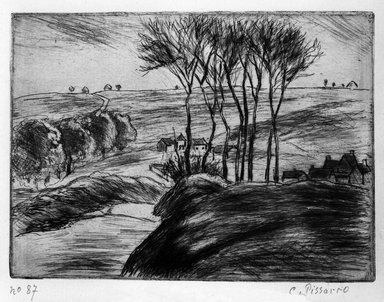 Camille Jacob Pissarro (French, born Danish West Indies, 1830-1903). Landscape at Osny (Paysage à Osny), 1887. Etching on laid paper, 4 9/16 x 6 3/16 in. (11.6 x 15.7 cm). Brooklyn Museum, Charles Stewart Smith Memorial Fund, 38.380