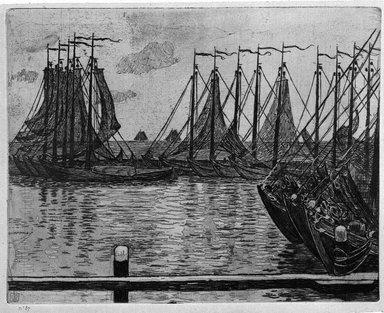Theodore van Rysselberghe (Belgian, 1862-1926). Flotille de peche, 1894. Etching in bistre on laid paper, 8 7/8 x 11 1/8 in. (22.6 x 28.3 cm). Brooklyn Museum, Charles Stewart Smith Memorial Fund, 38.403