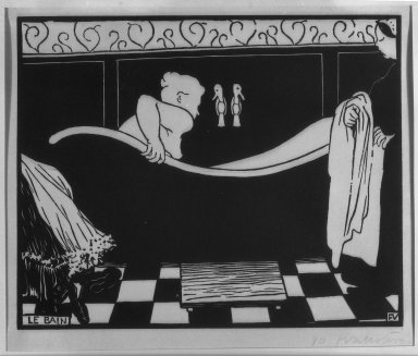 Félix Vallotton (Swiss, 1865-1925). Le Bain, 1894. Woodcut on wove paper, 7 1/16 x 8 3/4 in. (18 x 22.3 cm). Brooklyn Museum, Charles Stewart Smith Memorial Fund, 38.413