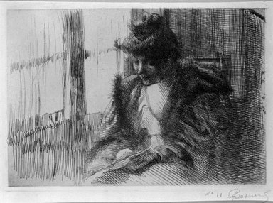 Albert Besnard (French, 1849-1934). La Liseuse devant la Fenêtre, 1888. Etching on laid paper, 5 1/2 x 7 11/16 in. (13.9 x 19.5 cm). Brooklyn Museum, Charles Stewart Smith Memorial Fund, 38.415