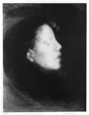 Eugène Carrière (French, 1849-1906). Nelly Carriere (Tete de femme), 1895. Lithograph on China paper laid down, Image: 18 1/4 x 14 1/8 in. (46.4 x 35.9 cm). Brooklyn Museum, Charles Stewart Smith Memorial Fund, 38.416