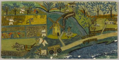 Israel Litwak (American, 1867-1960). Harvest Scene in Russia, n.d. Crayon and graphite on paper coated with shellac, Sheet: 9 15/16 x 20 1/8 in. (25.2 x 51.1 cm). Brooklyn Museum, Gift of the artist, 38.562. © Estate of Israel Litwak