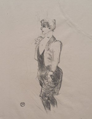 Henri de Toulouse-Lautrec (French, 1864-1901). Mary Hamilton, 1896. Lithograph on China paper, 11 1/8 x 6 9/16 in. (28.3 x 16.6 cm). Brooklyn Museum, Gift of Jean Goriany, 38.563