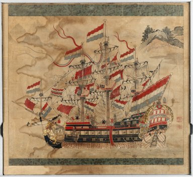 Ship Painting, 17th century. Ink and colors on paper, 25 3/8 x 20 7/8 in. (64.5 x 53 cm). Brooklyn Museum, Brooklyn Museum Collection, 38.569