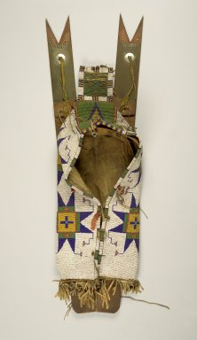 Sioux (Native American). Frame, Cradle, and Attached Toys, 1870-1900. Buffalo hide, wood, beads, metal, ceramic, porcupine quills, brass nails, pigment, 32 5/16 x 12 3/16 x 7 in. (82.1 x 31 x 17.8 cm). Brooklyn Museum, Dick S. Ramsay Fund, 38.630. Creative Commons-BY