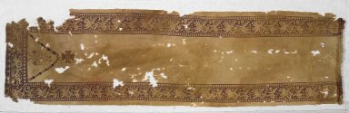 Coptic. Yellow Tunic - Front with Marine Motifs, 6th century C.E. Wool, 13 x 44 1/2 in. (33 x 113 cm). Brooklyn Museum, Charles Edwin Wilbour Fund, 38.753. Creative Commons-BY