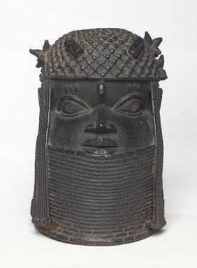 Edo. Head of an Oba, 18th century. Copper alloy, 11 7/8 x 7 7/8 in.  (30.2 x 20.0 cm). Brooklyn Museum, Alfred W. Jenkins Fund, 39.111. Creative Commons-BY