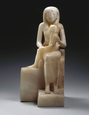 Statuette of Queen Ankhnes-meryre II and her Son, Pepy II, ca. 2288-2224 or 2194 B.C.E. Egyptian alabaster, 15 7/16 x 9 13/16 in. (39.2 x 24.9 cm). Brooklyn Museum, Charles Edwin Wilbour Fund, 39.119. Creative Commons-BY