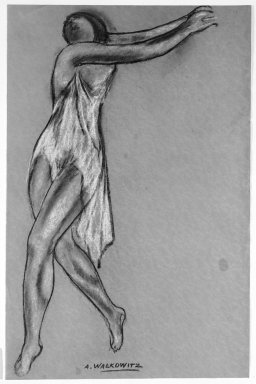 Abraham Walkowitz (American, born Siberia, 1878-1965). Isadora Duncan #2, ca. 1917. Pastel on green paper, 20 x 13 1/16 in. (50.8 x 33.2 cm). Brooklyn Museum, Gift of the artist, 39.147