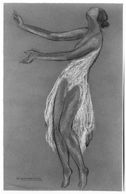 Abraham Walkowitz (American, born Siberia, 1878-1965). Isadora Duncan #5, ca. 1917. Pastel on dark blue wove paper, 19 1/16 x 12 3/16 in. (48.4 x 31 cm). Brooklyn Museum, Gift of the artist, 39.150