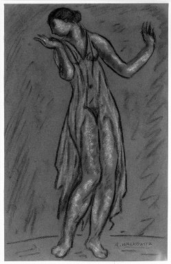 Abraham Walkowitz (American, born Siberia, 1878-1965). Isadora Duncan #6, ca. 1917. Pastel on pinkish-purple paper, 18 15/16 x 12 1/16 in. (48.1 x 30.6 cm). Brooklyn Museum, Gift of the artist, 39.151