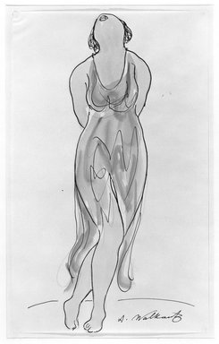 Abraham Walkowitz (American, born Russia, 1878-1965). Isadora Duncan #14. Watercolor, pen, ink, pencil on paper, 14 x 8 1/2 in. (35.6 x 21.6 cm). Brooklyn Museum, Gift of the artist, 39.159