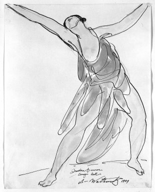 Abraham Walkowitz (American, born Siberia, 1878-1965). Isadora Duncan #24, 1909. Watercolor, pen, ink, pencil on paper, 9 7/8 x 7 7/8 in. (25.1 x 20 cm). Brooklyn Museum, Gift of the artist, 39.169