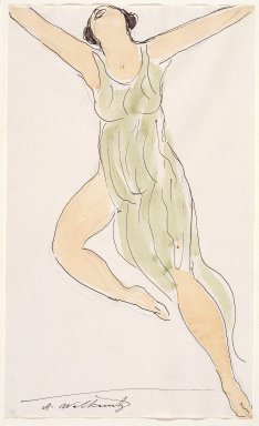 Abraham Walkowitz (American, born Siberia, 1878-1965). Isadora Duncan #29, ca. 1915. Watercolor and ink over graphite on off-white, medium-weight, moderately textured laid paper, 14 x 18 1/2 in. (35.6 x 47 cm). Brooklyn Museum, Gift of the artist, 39.174