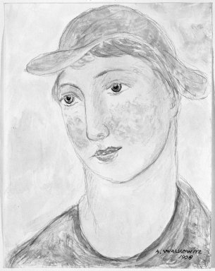 Abraham Walkowitz (American, born Siberia, 1878-1965). Woman's Head #1, 1908. Watercolor, pen and ink, pencil on paper, 6 3/4 x 5 1/4 in. (17.1 x 13.3 cm). Brooklyn Museum, Gift of the artist, 39.189