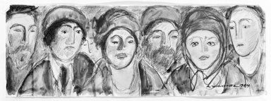 Abraham Walkowitz (American, born Siberia, 1878-1965). Six Heads, 1904. Watercolor, pen, ink, pencil on paper, 2 3/4 x 7 7/8 in. (7 x 20 cm). Brooklyn Museum, Gift of the artist, 39.198