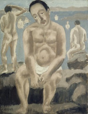 Abraham Walkowitz (American, born Russia, 1878-1965). Rocks and Bathers, n.d. Oil on canvas board, 18 x 14 in. (45.7 x 35.6 cm). Brooklyn Museum, Gift of the artist, 39.237