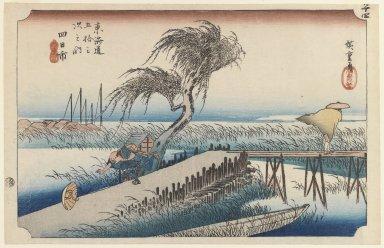 Utagawa Hiroshige (Ando) (Japanese, 1797-1858). Yokkaichi, San Cho Kwa, Station 44, 1834. Woodblock color print, 9 7/16 x 14 15/16 in. (23.9 x 37.9 cm). Brooklyn Museum, Gift of Marion Cutter, 39.241