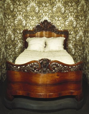 John Henry Belter (American, born Germany, 1804-1863). Bed, ca. 1856. Rosewood, Headboard: 65 1/2 x 58 1/2 in. (166.4 x 148.6 cm). Brooklyn Museum, Gift of Mrs. Ernest Vietor, 39.30. Creative Commons-BY