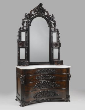 John Henry Belter (American, born Germany, 1804-1863). Dresser with Mirror, ca. 1855. Laminated rosewood, marble, mirrored glass, 95 x 49 1/2 x 25 in. (241.3 x 125.7 x 63.5 cm). Brooklyn Museum, Gift of Mrs. Ernest Vietor, 39.31a-c. Creative Commons-BY