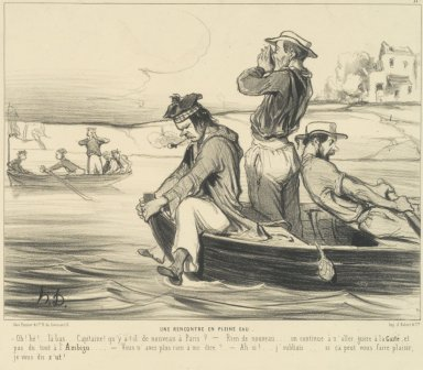 Honoré Daumier (French, 1808-1879). An Encounter in Open Water (Une Rencontre en pleine eau), June 22, 1843. Lithograph on wove paper, Sheet: 10 5/8 x 13 3/4 in. (27 x 34.9 cm). Brooklyn Museum, Anonymous gift, 39.35