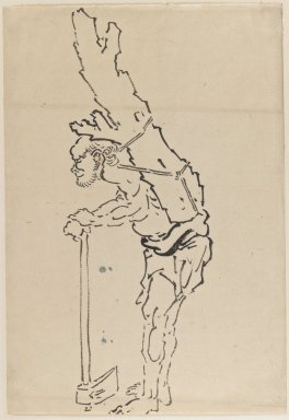 Katsushika Hokusai (Japanese, 1760-1849). Drawing of Man Resting on Axe and Carrying Part of Tree Trunk on His Back, 1760-1849. Ink on paper, 9 15/16 x 14 3/8 in. (25.2 x 36.5 cm). Brooklyn Museum, By exchange, 39.353