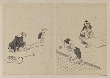 Katsushika Hokusai (Japanese, 1760-1849). Drawings, 1615-1867. Ink with reddish wash on cream colored paper, 8 1/8 x 11 7/16 in. (20.7 x 29 cm). Brooklyn Museum, By exchange, 39.359