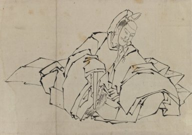 Katsushika Hokusai (Japanese, 1760-1849). Drawing of Seated Nobleman in Full Costume, 1760-1849. Ink on paper, 14 9/16 x 10 1/16 in. (37 x 25.5 cm). Brooklyn Museum, By exchange, 39.369