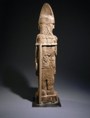 Huastec. Warrior Figure, 13th or 14th Century. Sandstone, 65 3/16 x 14 3/4 x 7 1/2 in. (165.6 x 37.5 x 19.1 cm). Brooklyn Museum, Frank L. Babbott Fund, 39.371. Creative Commons-BY