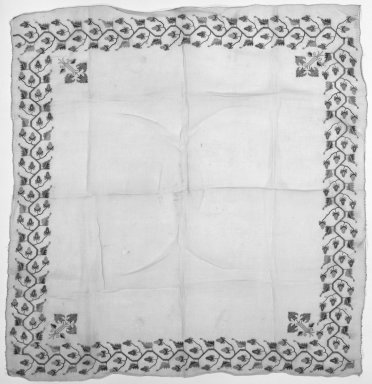 Textile, 19th century. Very fine cotton, hand woven, 13 3/4 x 13 3/4 in. (35 x 35 cm). Brooklyn Museum, Gift of Florence Harvey Linder, 39.410. Creative Commons-BY